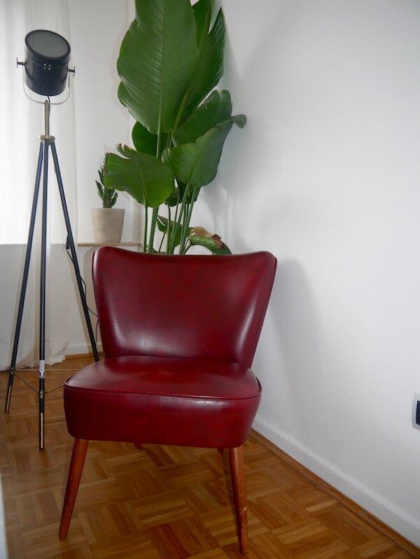 Vintage Sessel mit rotem Lederbezug