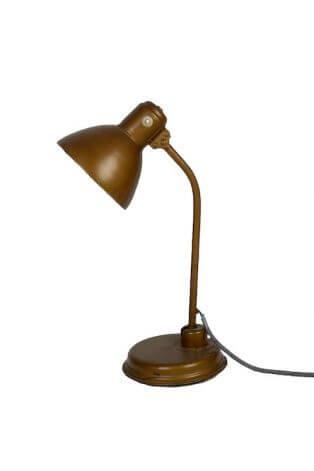 Goldene Tischlampe im Industriedesign