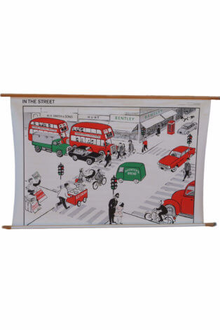 "Vintage Schulkarte ""In the Street"" – Holz"